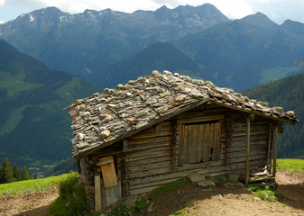 Old wooden building in Austrian Alps