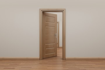 Enfilade, open the door to the outside. Stop motion animation.