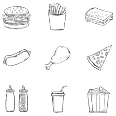 Vector Set of Sketch Fast Food Icons.