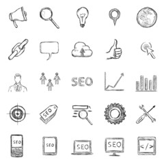 Vector Set of Sketch SEO Icons