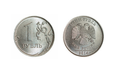 Both sides of isolated 1 russian ruble coin