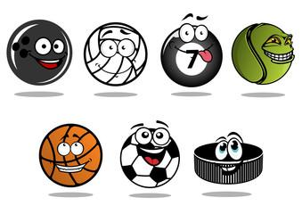 Cartoon hockey puck and sporting balls mascots