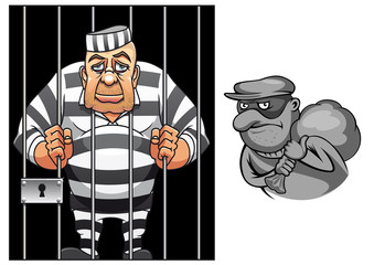 Cartoon prisoner in jail and robber in mask