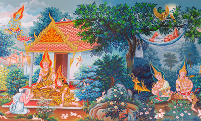 art Thai, Mural mythology buddhist religion on wall in Wat Neram