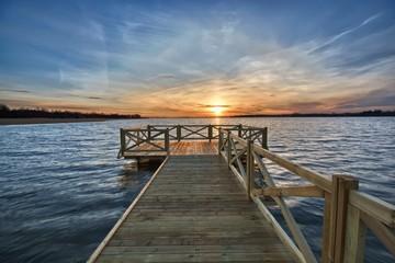 Empty jetty on lake