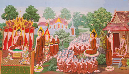 Mural mythology buddhist religion on wall in Thai temple