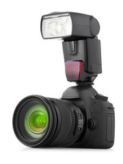 Professional digital camera with flash isolated