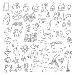 Travel hand drawn cartoon set
