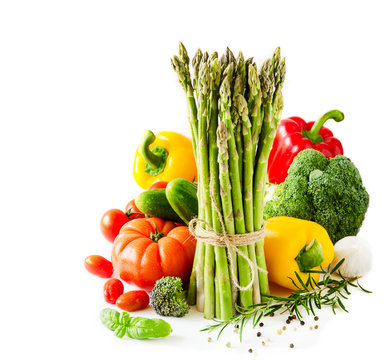Fresh vegetables isolated on white copy space background