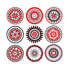 Collection of red and black polynesian tattoo design