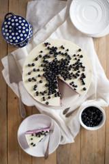 bluberries cheesecake with white chocolate