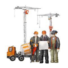 Industrial illustration with workers, cranes and concrete mixer