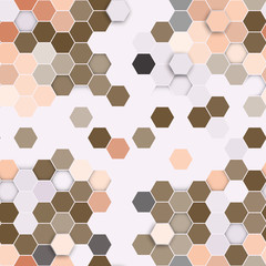 Hexagonal seamless pattern. Repeating geometric brown background