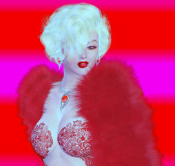 Blonde bombshell on red and pink abstract background.