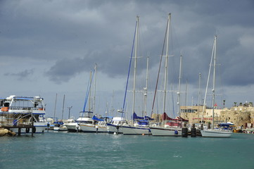 Harbor of old city of Acre - Sea Port, Akko, Israel