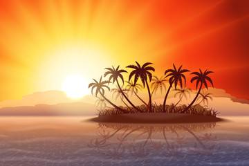 Wall Mural - Paradise tropical island with palm trees at sunset