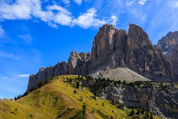 View of Dolomites Mountains at Passo Gardena, Italy