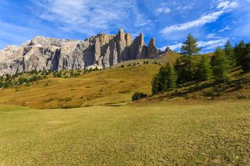 View of Passo Sassolungo in Dolomites Mountains in autumn, Italy