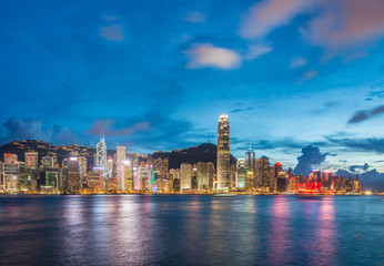 Hong Kong - JULY 27, 2014: Hong Kong skyline on July 27 in China