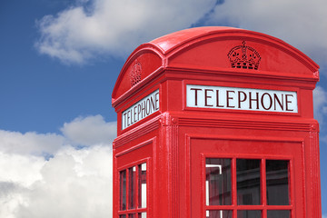 London telephone box cloudy blue sky