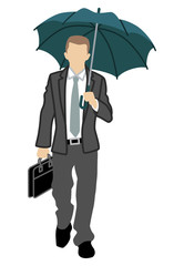 Business person has an Umbrella,front view,Isolated