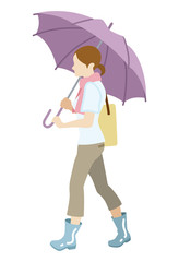 Walking woman has an Umbrella,Isolated