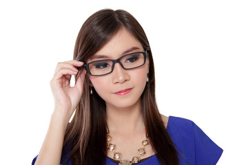 Beautiful Asian girl on thick framed glasses