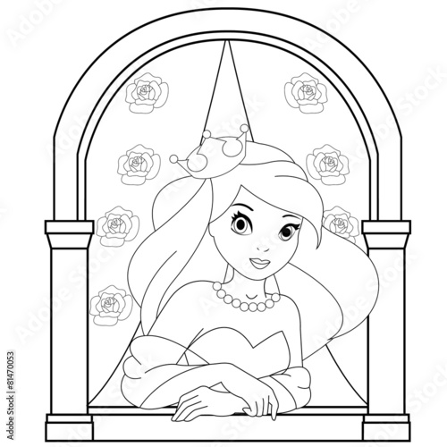 Princess In The Castle Window Coloring Book Page