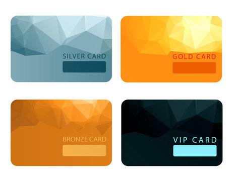 Gold, silver, bronze, VIP premium member cards