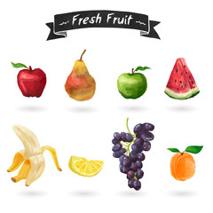 Set of fruits in watercolor style. Isolated. Vector.