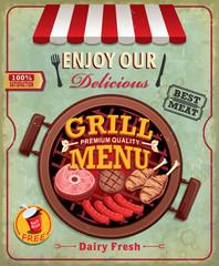 Vintage BBQ poster design with sausage, meat, chicken