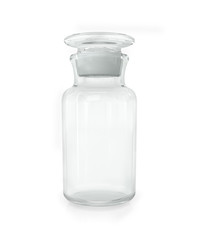 Chemical bottle with transparent glass on a white background
