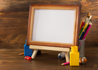 picture frame and paints on wood