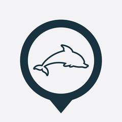 dolphin icon map pin
