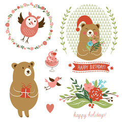 Holiday Clip Art set of cute animals