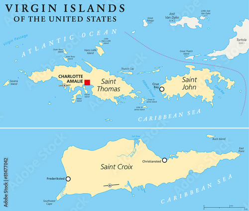United States Virgin Islands Political Map\