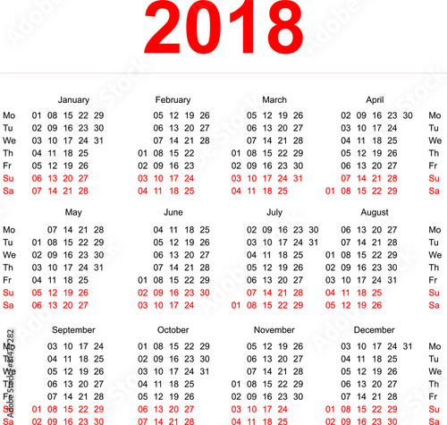 "2018 Calendar template. Vertical weeks. First day Monday"" Stock ..."