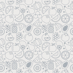 fruit line icon pattern set