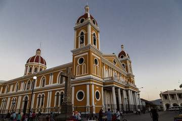 Cathedral with people around of Granada, Nicaragua.