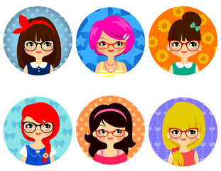 cartoon cute girls with glasses