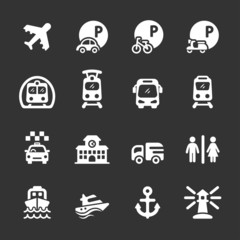 transportation and infrastructure icon set, white version, vecto