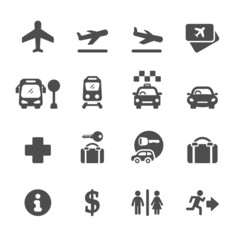 airport icon set, vector eps10
