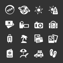 travel and vacation icon set 4, white version, vector eps10