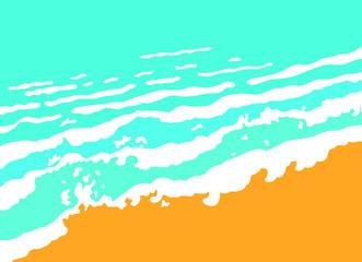 Blue sea wave and sand beach, vector