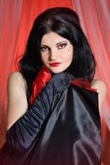 Beautiful young woman cabaret burlesque showgirl portrait