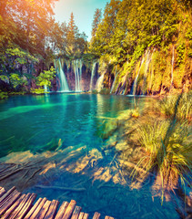 Foto op Canvas Watervallen Colorful summer morning in the Plitvice Lakes National Park. Cro