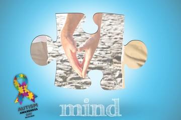 Mind against blue background with vignette