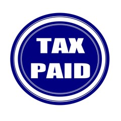 Tax paid white stamp text on blueblack