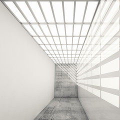 Empty white interior with bright ceiling illumination, 3d