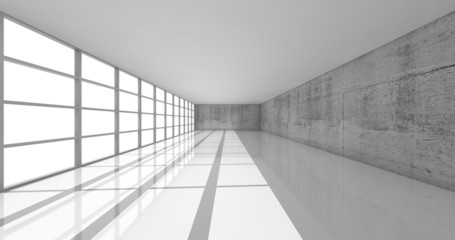3d empty white open space interior with bright windows